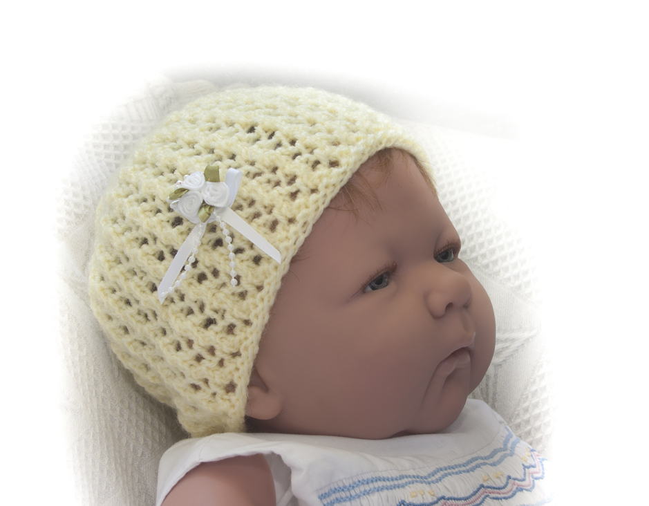 Knitting Pattern For Baby Doll Hat : Babys Hat Reborn Doll Babies Knitting Pattern #0905 eBay